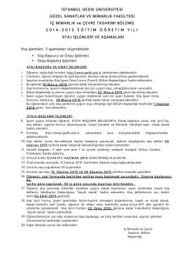 Staj İşlemleri ve Aşamaları 2014-2015