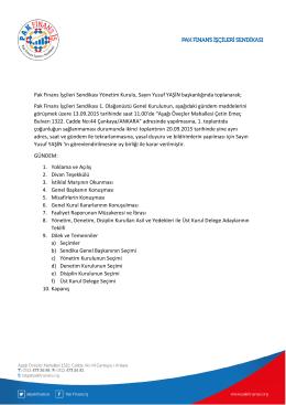 Pak Finans İşçileri Sendikası Yönetim Kurulu, Sayın Yusuf YAŞİN