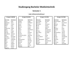Studiengang Bachelor Medizintechnik Semester 1