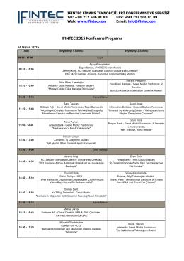 IFINTEC 2015 Konferans Programı