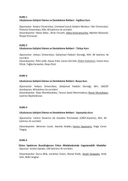 KURS-1 Uluslararası Gelişimi İzleme ve Destekleme Rehberi