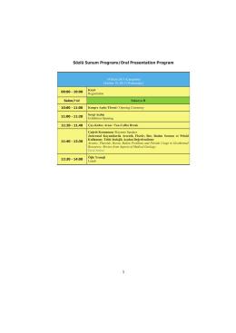 1 Sözlü Sunum Programı/Oral Presentation