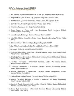 DelPat` ın KullanıcılarListesi(1995-2015) List of the Users of DelPat
