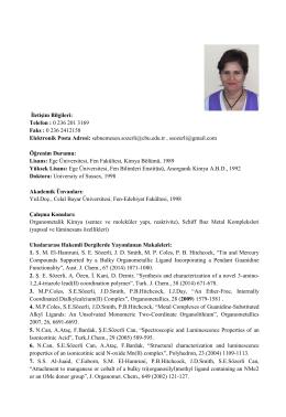 Yrd. Doç. Dr. Şebnem E. SÖZERLİ - Kimya