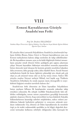 Ermeni Kaynaklarının Gözüyle Anadolu`nun Fethi