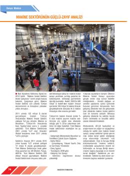 makine sektörünün güçlü-zayıf analizi