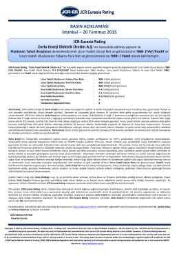 JCR Eurasia Rating Zorlu Enerji Elektrik Üretim A.Ş.