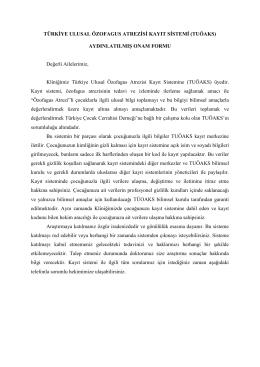 TUÖAKS Aydınlatılmış Onam Formu - Türkiye Çocuk Cerrahisi Derneği