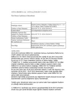 AVİVA SİGORTA A.Ş. / AVIVA [] 29.04.2015 15:14:51 Özel Durum