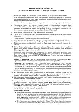 ABANT İZZET BAYSAL ÜNİVERSİTESİ 2014–2015 EĞİTİM