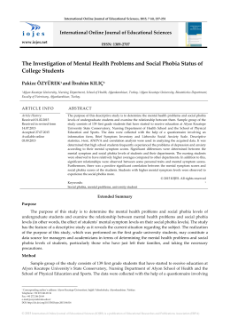 The Investigation of Mental Health Problems and Social Phobia