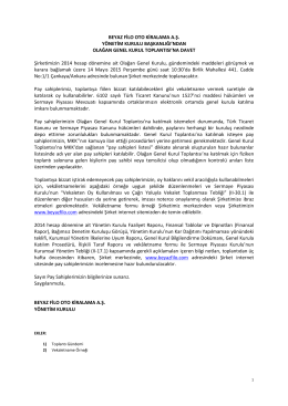 2014 Yönetim Kurulu Başkanlığı`ndan Olağan Genel Kurul