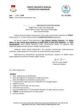 Sayı : TÜSF- - Türkiye Üniversite Sporları Federasyonu