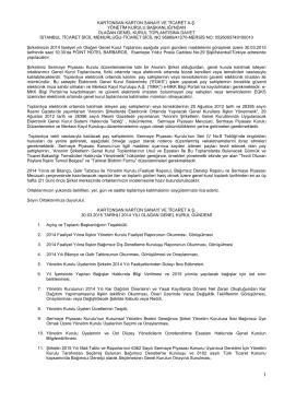 032015 Tarihli Kartonsan Olağan Genel Kurul Davet İlanı