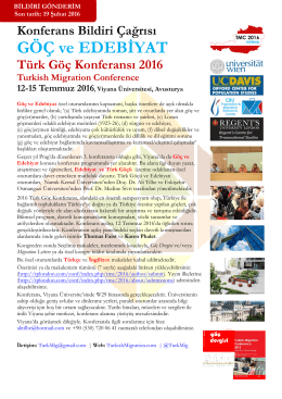 TMC 2016 Göç ve Edebiyat - Turkish Migration Conference 2016