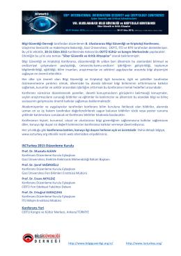 ISCTurkey 2015 Düzenleme Kurulu Konferans Yeri