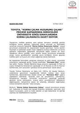 "TOYOTA, ""KORNA ÇALMA HUZURUMU ÇALMA"" PROJESİ"