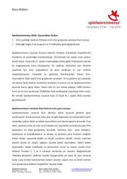 Basın Bülteni - Spielwarenmesse