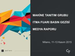 Makina Tanıtım Grubu İTMA 2015 Fuar Raporu