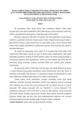 kuzey kıbrıs türk cumhuriyeti futbol süper ligi`nde görev alan teknik
