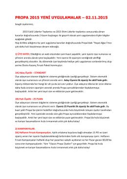 propa 2015 yeni uygulamalar