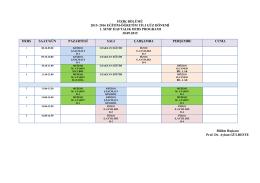 2015-2016 Eğitim - Öğretim Güz Dönemi Lisans Ders Programı