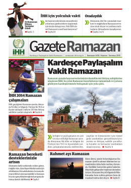 Gazete Ramazan 2015 - İHH İnsani Yardım Vakfı