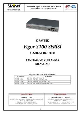 Vigor 3100 Kullanım Kılavuzu