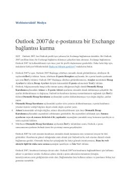 Outlook 2007`de e-postanıza bir Exchange bağlantısı