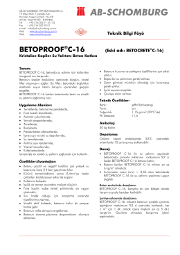 Teknik Bilgi Föyü BETOPROOF®C-16 (Eski adı - ab