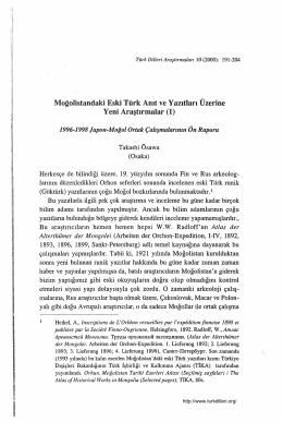 Moğolistandaki Eski Türk Anıt ve Yazıtları Üzerine Takashi Ösawa