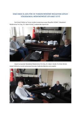 eski ordu il kültür ve turizm müdürü muzaffer günay yüksekokul