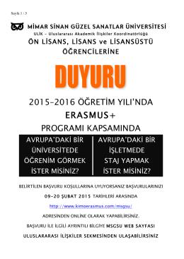2015-2016 Erasmus Ögrenci Seçim duyurusu