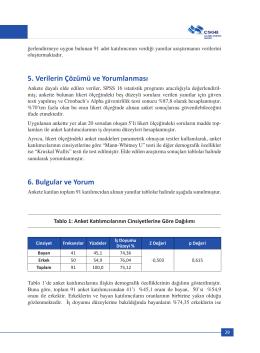 5. Verilerin Çözümü ve Yorumlanması 6. Bulgular ve Yorum