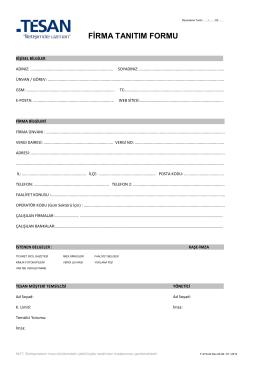 Firma Tanıtım Formu ve Tesan Bayilik Sözleşmesi