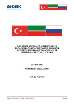 Tataristan İş Gezisi Sonuç Raporu
