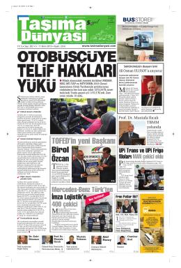 Taşıma Dünyası Gazetesi-202 PDF 5 Ekim 2015 tarihli sayısını