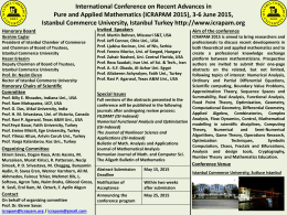 PowerPoint Sunusu - International Conference on Recent Advances