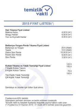 2015 FiYAT LiSTESi(*)
