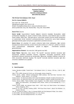 TDE 472 Eski Türk Edebiyatı Ders İzlencesi