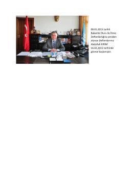 08.01.2015 tarihli Bakanlık Oluru ile İlimiz Defterdarlığına yeniden