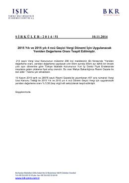 2015 Yılı ve 2015 yılı 4 ncü Geçici Vergi Dönemi İçin Uygulanacak
