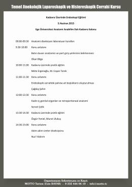 Kadavra Üzerinde Endoskopi Eğitimi Detaylı Program