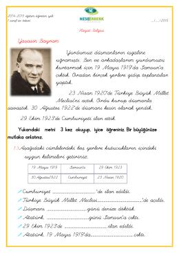 ( ) Atatürk, 19 Mayıs 1919