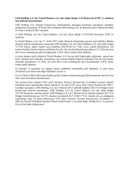 GSD Holding A.Ş.`nin Tekstil Bankası A.Ş.`nde sahip olduğu %75,50