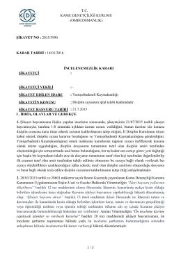 Dosya No: 2015/3990 - Disiplin Cezasının İptal Talebi Hakkında