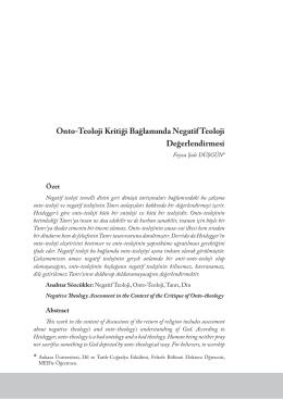Onto-Teoloji Kritiği Bağlamında Negatif Teoloji Değerlendirmesi