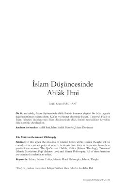 İslam Düşüncesinde Ahlâk İlmi