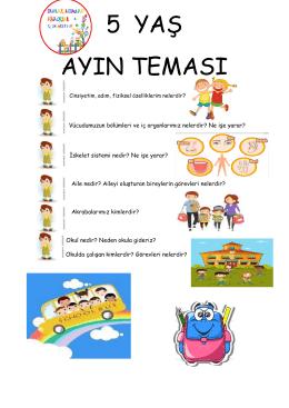 5 yaş ayın teması - Parlak Adımlar Anaokulu