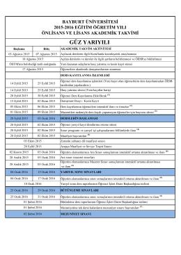 Önlisans/Lisans Programları Akademik Takvimi